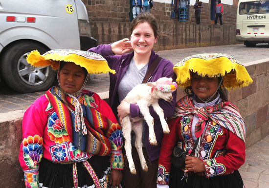 Acupuncture-Volunteering-Cusco-Peru-Girls-Lamb