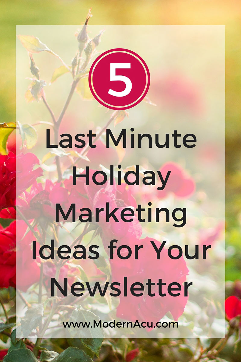 five last minute holiday marketing ideas for your acupuncture email newsletter these ideas work for - Newsletter Ideas